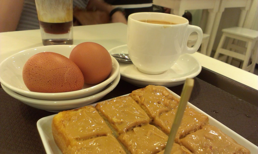 Peanut butter toast set at Toast Box