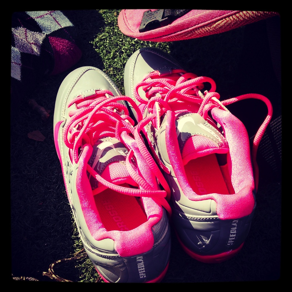 Cleats (gray and pink)