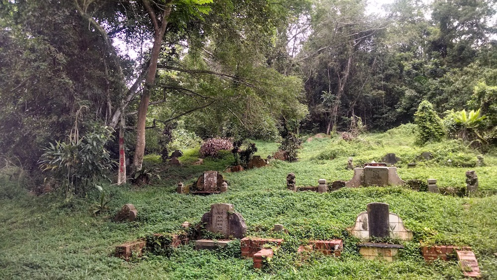 headstones on the grassy hill Bukit Brown Singapore