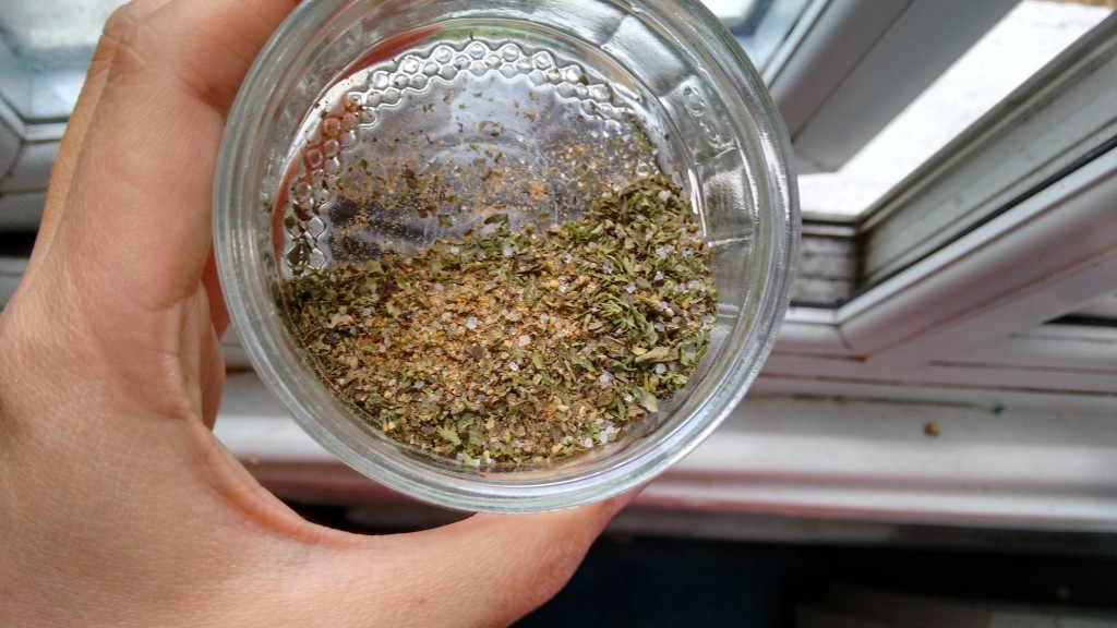 Spices in a small glass container