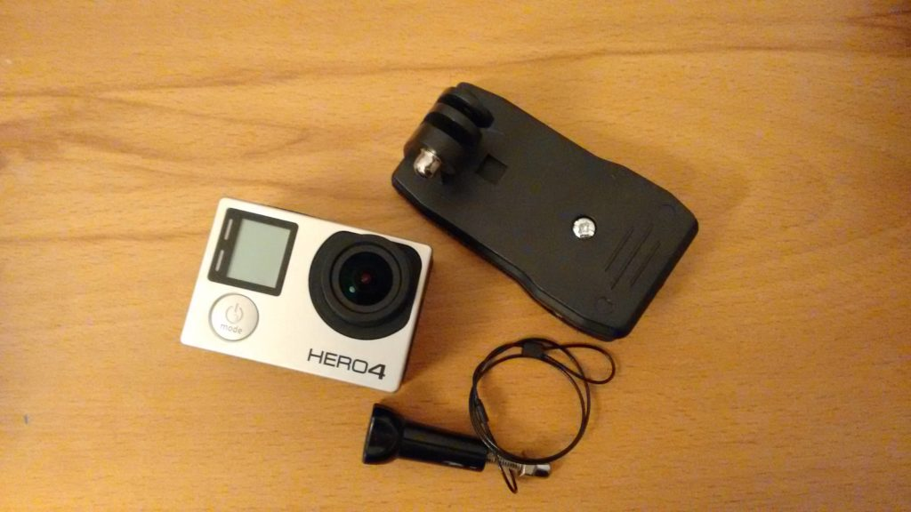 GoPro Hero4 Black with backpack clip and steel wire tether
