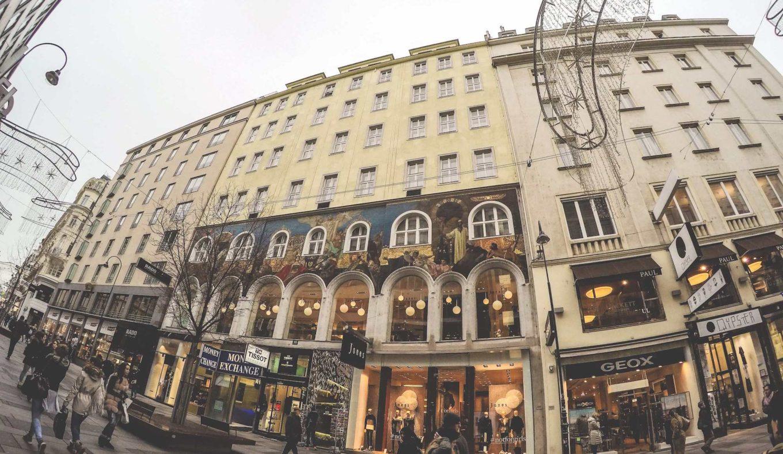 Shopping street in central Vienna, Austria