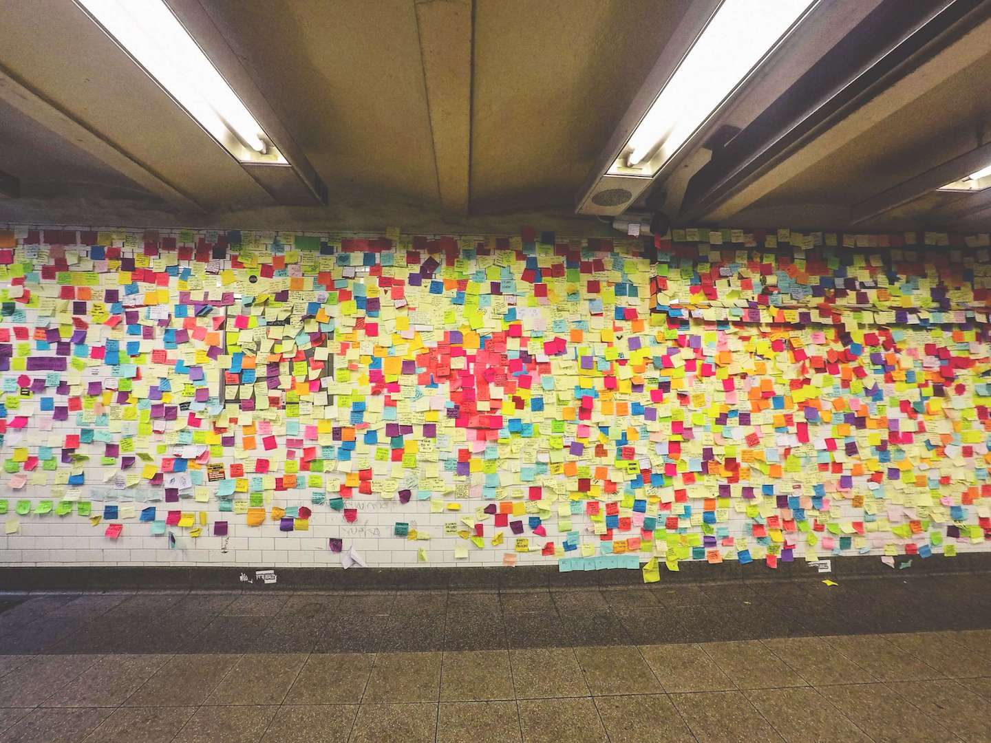 Post it wall in subway station for Union Square